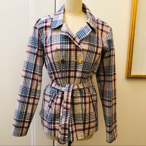Tommy Hilfiger Plaid Jacket Raincoat Short Trench